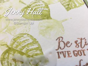 Faux watercoloring using Vintage Leaves stamps with Jenny Hall at www.jennyhalldesign.com