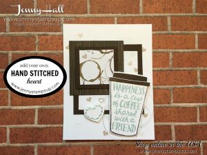 handsewing for cardmaking at www.jennyhalldesign.com with Coffee Cafe' and Coffee Cups dies and Coffee Break DSP in a clean and simple cardsmaking project Learn to create a free video tutorial with Jenny Hall Design