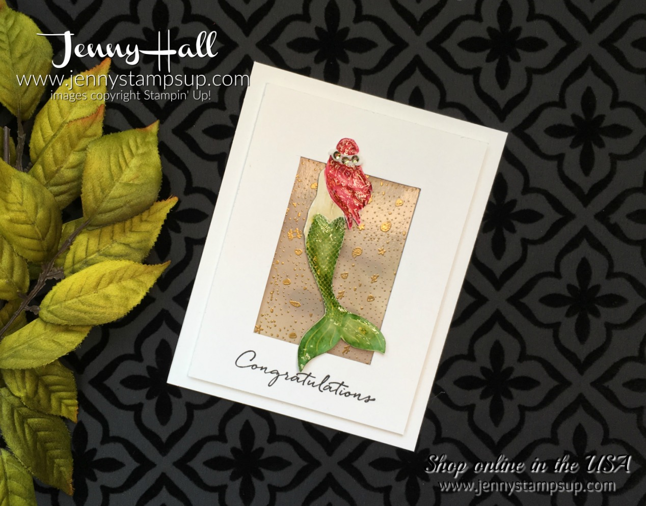 Watercoloring Magical Mermaid cardmaking papercrafts scrapbooking and more at Jenny Hall Design at www.jennyhalldesign.com