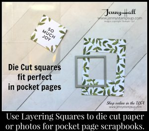 scrapbook pocket pages with layering squares dies by Jenny Hall at www.jennyhalldesign.com for scrapbooking, cardmaking, papercraft gift giving and more