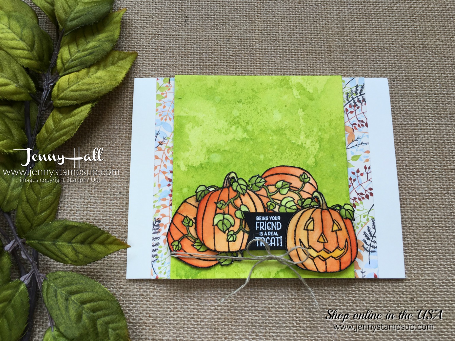 Seasonal Chums Bundle pumpkin card by Jenny Hall at www.jennyhalldesign.com for cardmaking, scrapbooking, papercraft gift giving, video tutorials and more