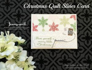 Christmas Quilt slider card by Jenny Hall of www.jennyhalldesign.com for cardmaking, scrapbooking, video tutorials, craft supplies and more!