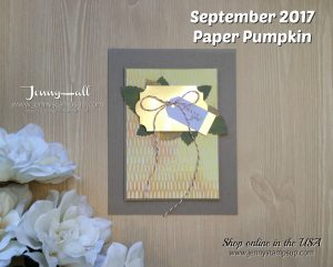 Paper Pumpkin September Kit alternative card by Jenny Hall at www.jennyhalldesign.com for cardmaking, papercraft gift-giving, process video tutorials, scrapbooking and more!