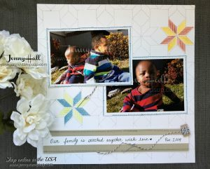 Quilt theme scrapbook page by Jenny Hall at www.jennyhalldesign.com for cardmaking, scrapbooking, papercraft gift giving and more