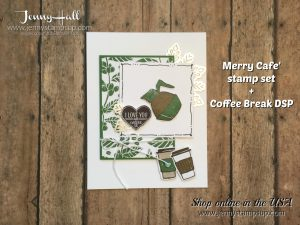 Merry Cafe' card by Jenny Hall at www.jennyhalldesign.com for Stampin' Up! product sales, cardmaking tutorials, scrapbook projects and more!