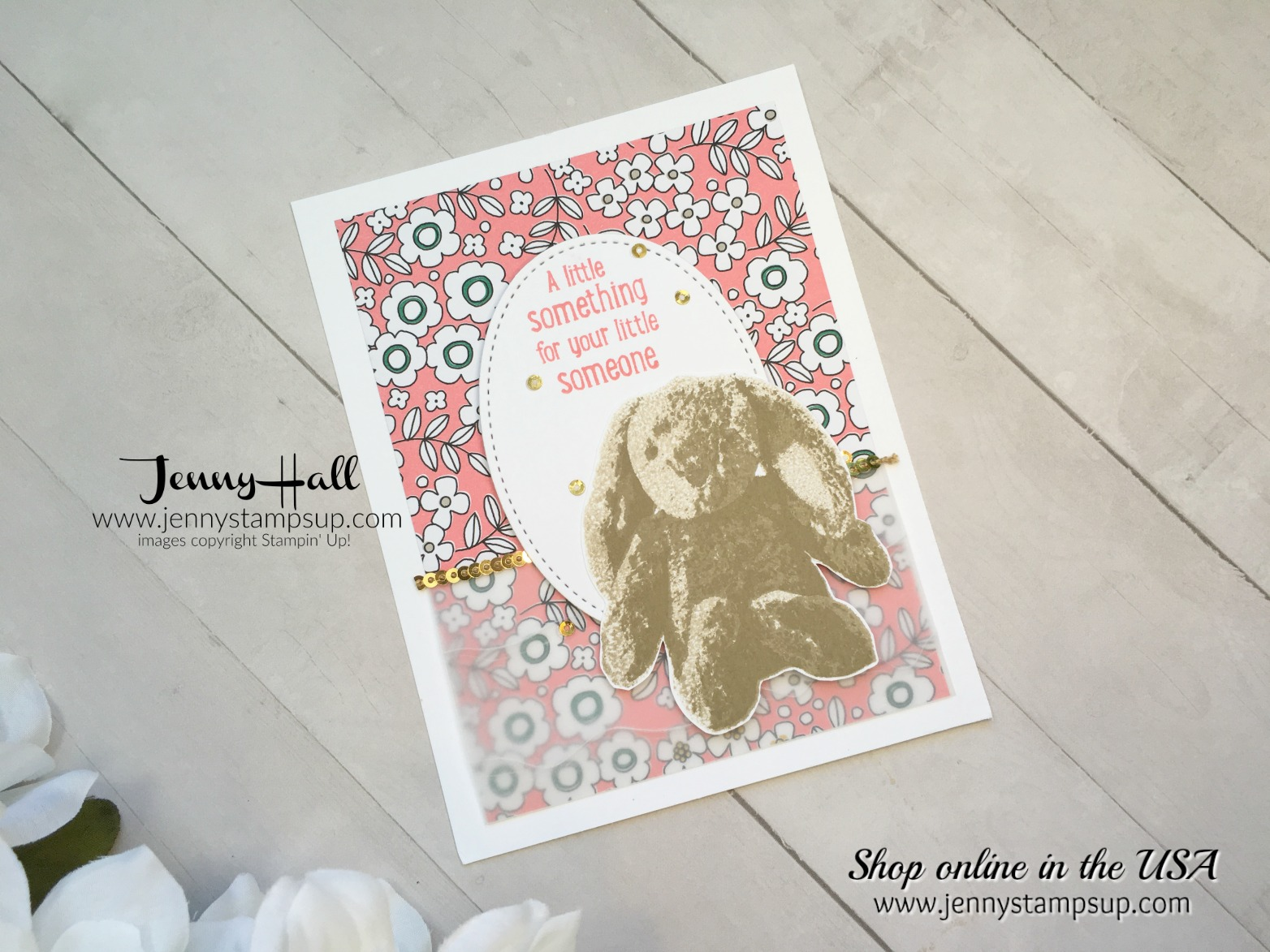 Sweet Little Something baby card made for 2017 OnStage Display in SLC by Jenny Hall at www.jennyhalldesign.com for cardmaking, video tutorials, scrapbooking and more!