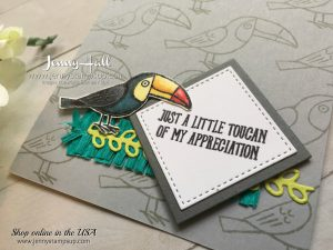 Bird Banter card by Jenny Hall for 2017 OnStage Display Stamper blog hop at www.jennyhalldesign.com