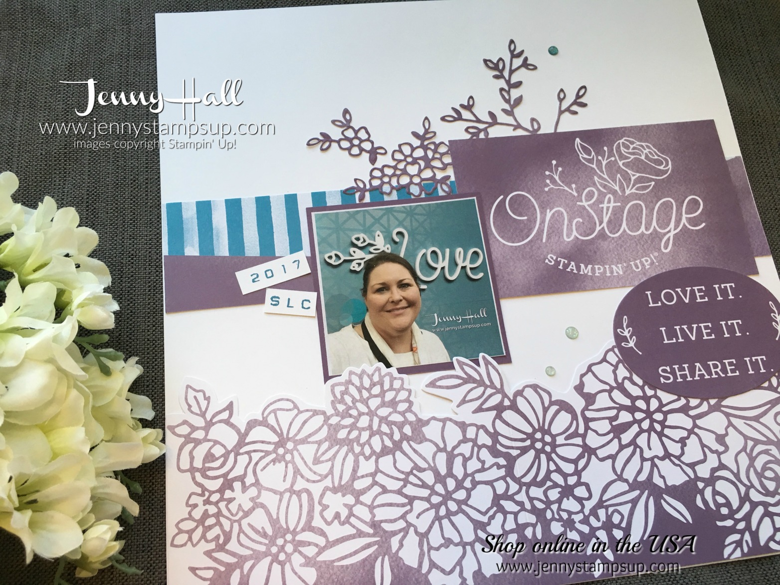 OnStage scrapbook page by Jenny Hall at www.jennyhalldesign.com for scrapbooking cardmaking, video tutorials, craft supplies and more!