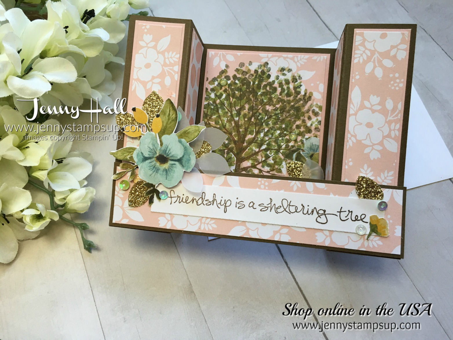 U Fold card by Jenny Hall at www.jennyhalldesign.com for cardmaking, free video tutorials, scrapbooking, papercraft gift giving and more!