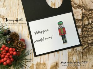Sugarplum Dreams Nutcracker card by Jenny Hall at www.jennyhalldesign.com for cardmaking, video tutorials, scrapbooking, and more!