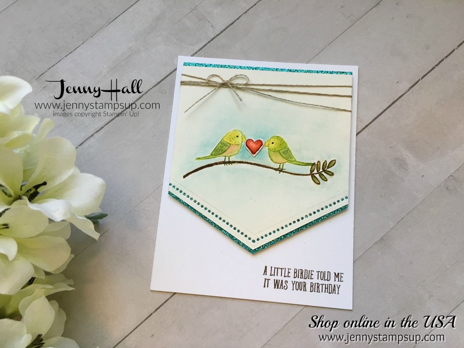Bird Banter watercolor card by Jenny Hall at www.jennyhalldesign.com for cardmaking, video tutorials, scrapbooking and more!