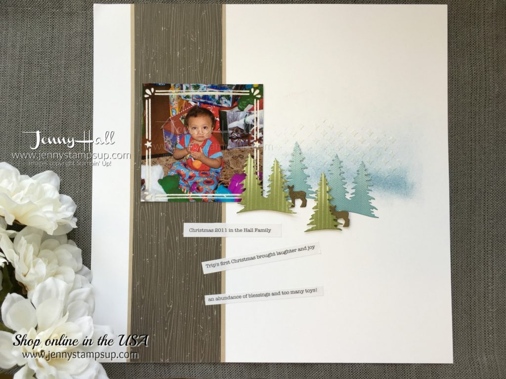 Winter scene scrapbook page by Jenny Hall at www.jennyhalldesign.com for scrapbooking, cardmaking, video tutorials and more!