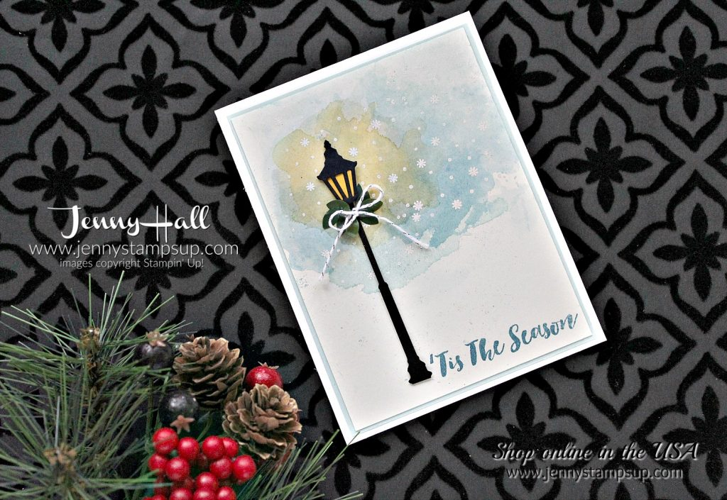 Watercolor Winter card by Jenny Hall at www.jennyhalldesign.com for #cardmaking #stampinup #cleanandsimple #cascards #jennystampsup #jennyhalldesign #jennyhallstampinup #watercolor #watercolorsmooshing #cardmakingtechniques #scrapbooking and more!