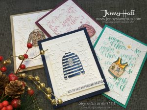 Christmas Sweaters cards by Jenny Hall at www.jennyhalldesign.com for cardmaking, scrapbooking, video tutorials and more!