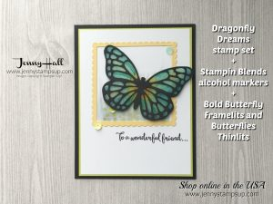 Dragonfly Dreams card by Jenny Hall at www.jennyhalldesign.com for cardmaking, scrapbooking, video tutorials and more