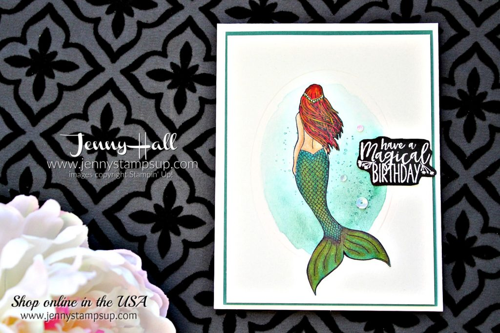Magical Mermaid clean and simple card by Jenny Hall at www.jennyhalldesign.com for #stampinup #cardmaking #watercolor #videotutorial #scrapbooking #magicalmermaid #mermaidstamp #stampinblends #alcoholmarkers #papercrafts