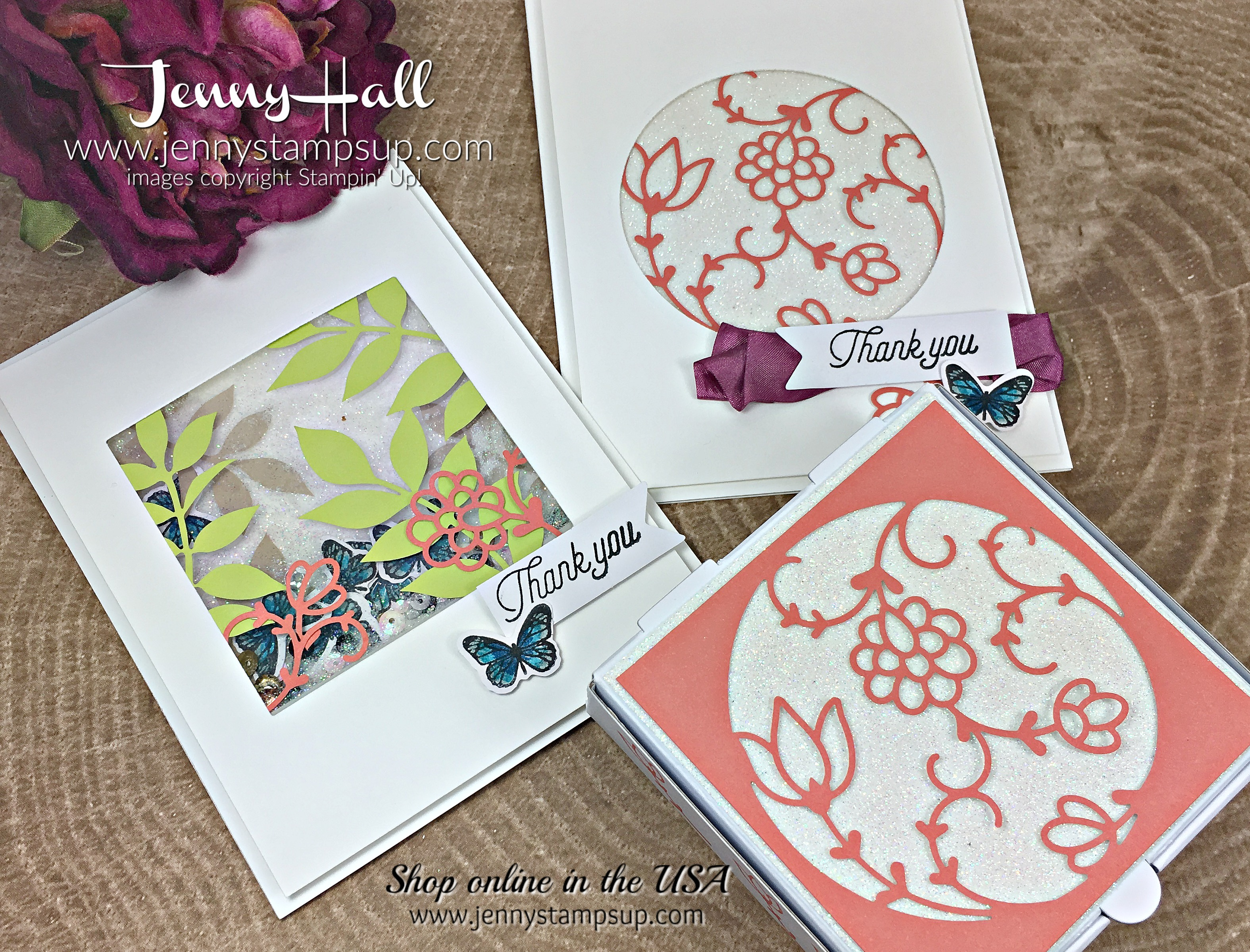 Paper Pumpkin December 2017 Kit Flora and Flutter Kit cards by Jenny Hall at www.jennyhalldesign.com for #cardmaking #stampinup #paperpumpkin #apaperpumpkinthing #paperpumpkinbloghop #glimmerpaper #cardmakingkit #jennystampsup #jennyhallstampinup #jennystampsup #videotutorials #scrapbooking and more!