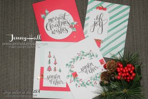 Watercolor Christmas card kit cards by Jenny Hall at www.jennyhalldesign.com for cardmaking, scrapbooking, video tutorials and more!