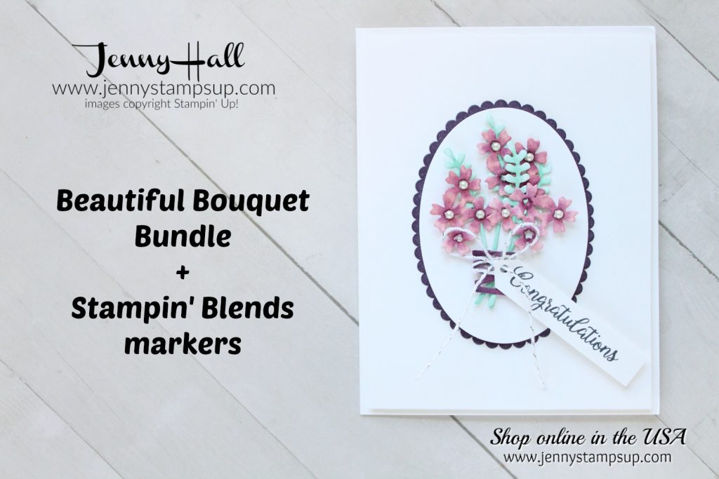 Beautiful Bouquet hand colored card by Jenny Hall at www.jennyhalldesign.com for #stampinup #cardmaking #videotutorials #scrapbooking #cascards #cleanandsimplecards #beautifulbouquet #jennyhalldesign #jennystampsup #jennyhallstampinup #stamping #watercolorpainting and more!