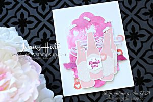 Bubble Over party card by Jenny Hall at www.jennyhalldesign.com for #stampinup #cardmaking #cardmakingtechniques #watercolor #watercolortechniques #bubbleover #stampinkpaperchallenge #pink #jennyhalldesign #jennystampsup #jennyhallstampinup