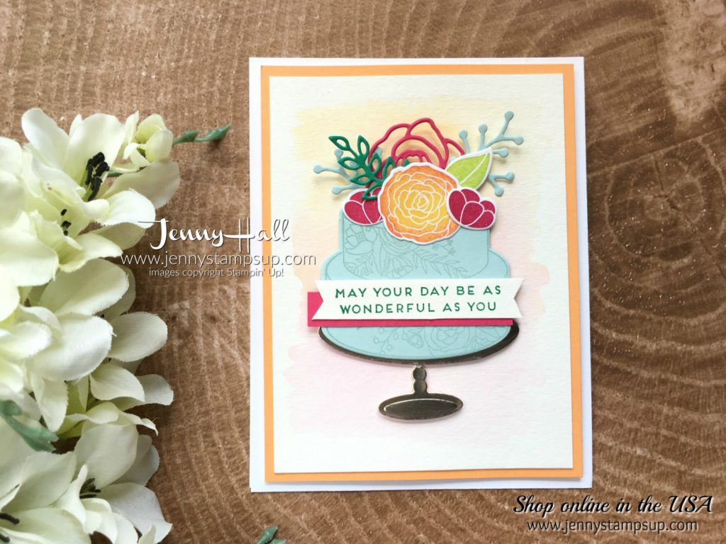 Cake Soiree card by Jenny Hall CASE'd from the 2018 Occasions Catalog Cover www.jennyhalldesign.com for #cardmaking #stampinup #cakesoireebundle #videotutorials #scrapbooking #jennystampsup #jennyhallstampinup #jennyhalldesign #stamping #bloghop #cardmakingtechniques and more!