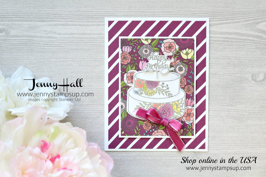 Cake Soiree Memories & More card pack card by Jenny Hall at www.jennyhalldesign.com for #stampinup #videotutorials #cardmaking #cakesoiree #scrapbooking #jennyhalldesign #jennystampsup #jennyhallstampinup #2018occasionscatalog and more!