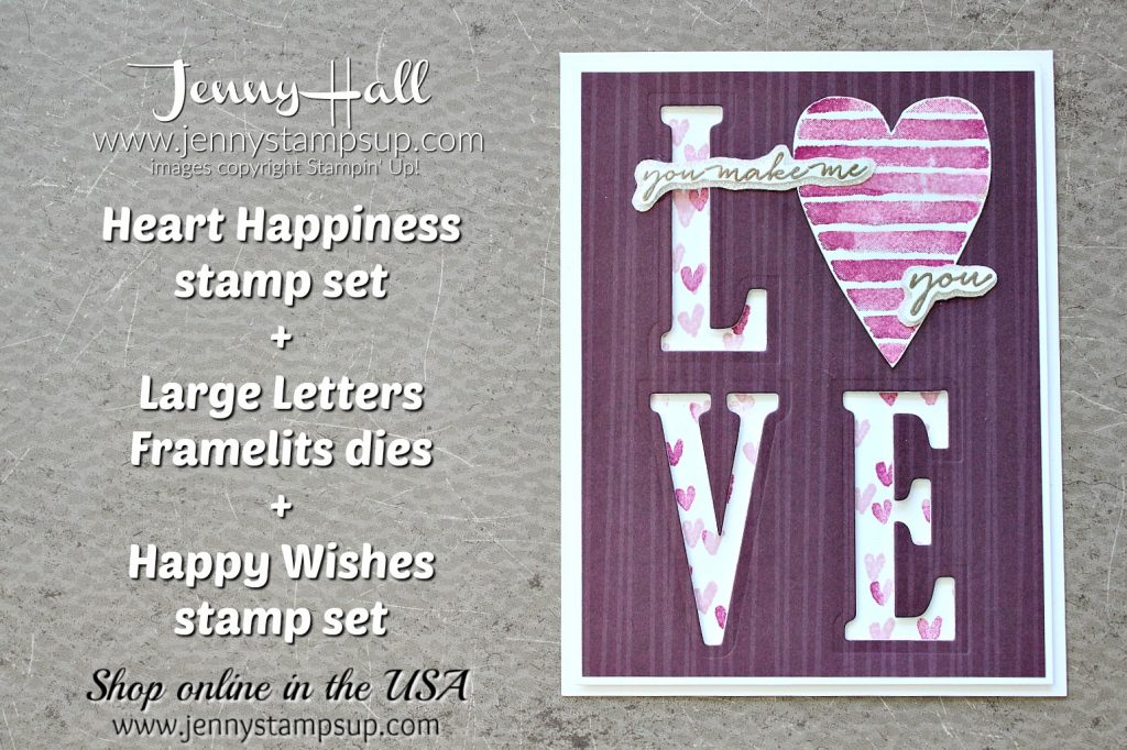 Heart Happiness Valentine's Day card by Jenny Hall at www.jennyhalldesign.com for #cardmaking #valentinesdaycard #stamping #stampinup #happywishesstamp #largelettersframelits #jennystampsup #jenyhalldesign #jennyhallstampinup #papercrafting #artsandcrafts #lovenote