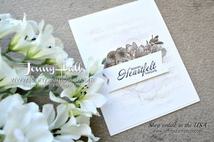 Heartfelt Blooms card by Jenny Hall at www.jennyhalldesign.com for #stampinup #cardmaking #heartfeltblooms #neutralcolors #monochromatic #sheetmusicstamp #jennyhalldesign #jennystampsup #jennyhallstampinup #videotutorial #cardmakingvideo #cardmakingtechnique #stamping #cardmaker and more!