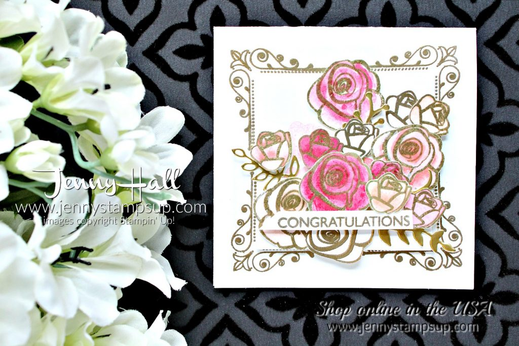 A Dozen Roses card by Jenny Hall at www.jennyhalldesign.com for #cardmaking #stampinup #inspiredevents #rosestamp #dozenroses #watercolor #papercraft #jennystampsup #jennyhalldesign #jennyhallstampinup #kidfriendlycraft #stamping #artsandcrafts #painting