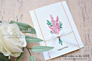 Lots of Lavender card by Jenny Hall at www.jennyhalldesign.com for #cardmaking #stampinup #lotsoflavender #watercolor #cardmakingtechnique #jennystampsup #jennyhalldesign #jennyhallstampinup #stamping #cascards #cleanandsimplecards #videotutorial #cardmakingvideo