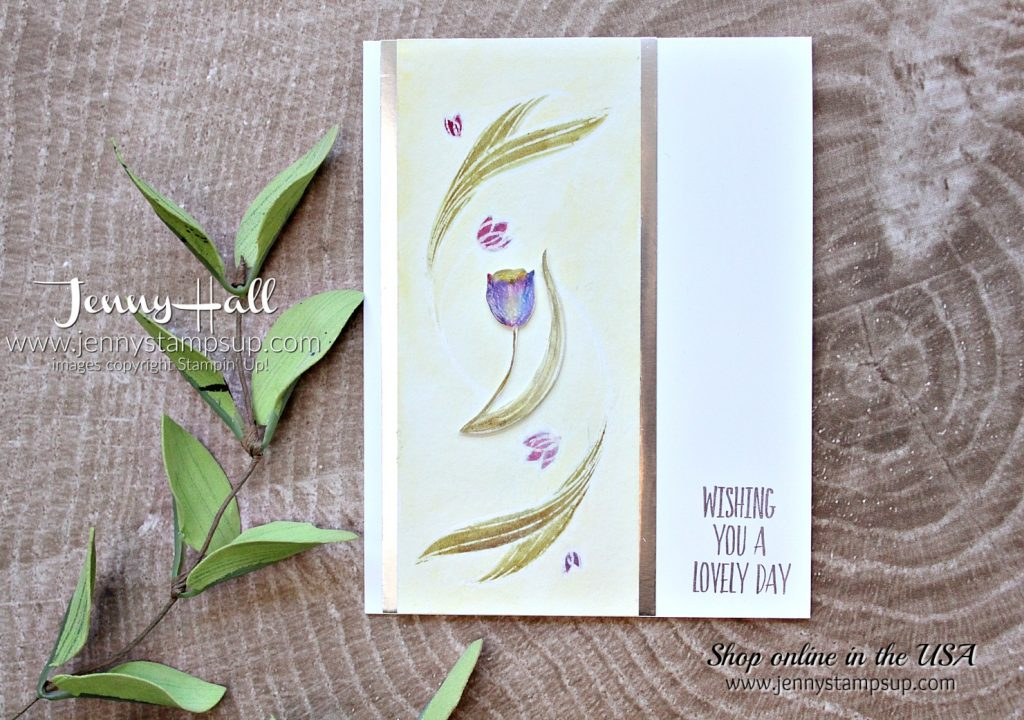 Intl Highlights Blog Hop card featuring Lovely Wishes stamp set by Jenny Hall at www.jennyhalldesign.com for #stampinup #cardmaking #videotutorial #cardmakingvideo #watercolor #lovelywishesstampset #jennystampsup #jennyhall #jennyhalldesign #jennyhallstampinup #halljenny #brusho #brushowatercolor #cardmakingtechnique and more!