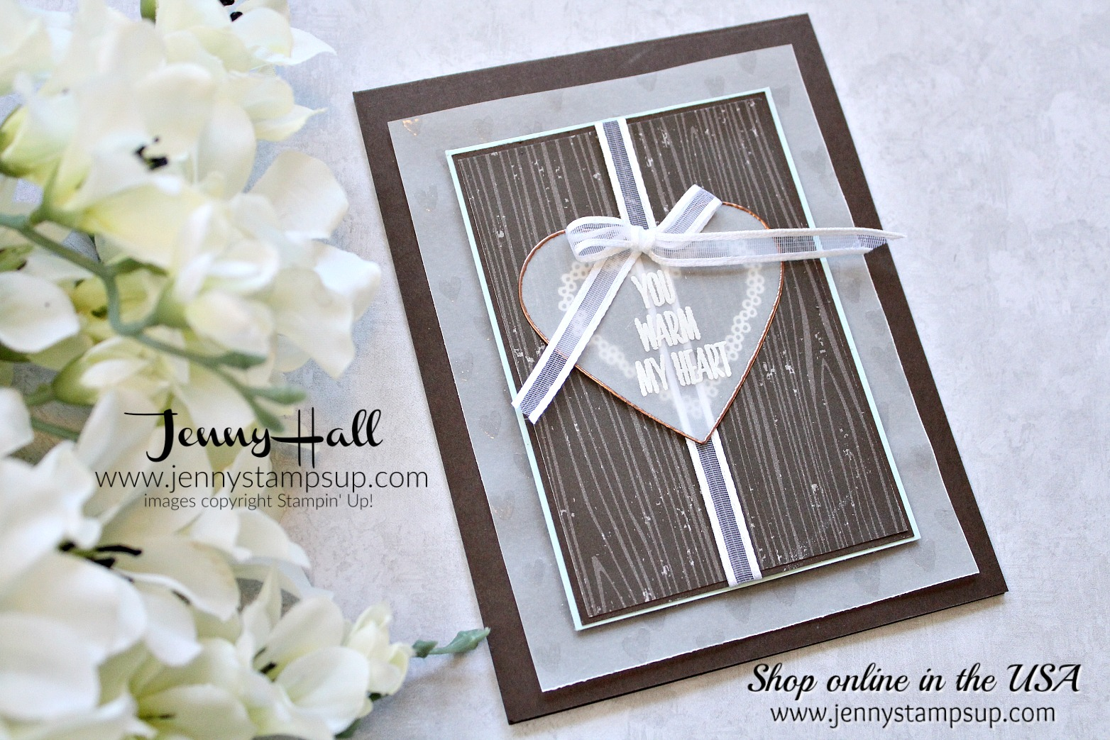 Embossed Vellum card by Jenny Hall at www.jennyhalldesign.com for #stampinkpaperchallenge #cardmaingchallenge #cardmaking #stampinup #stamping #jennystampsup #jennyhallstampinup #jennyhalldesign #hearthappiness #lovelywishes #paperembossing #vellum #videotutorials #cardmakingvideo #scrapbooking and more!