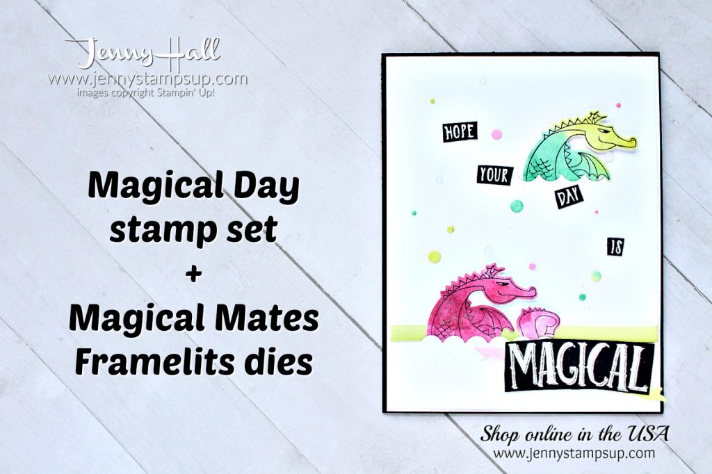 Salted Watercolor dragons card by Jenny Hall at www.jennyhalldesign.com for #cardmaking #stampinup #magicalday #dragon #dragonstamp #cardmakingtechniques #stampinup #jennystampsup #jennyhalldesign #jennyhallstampinup #cascards #cleanandsimplecards #stamping #cardmakingvideo #processvideo