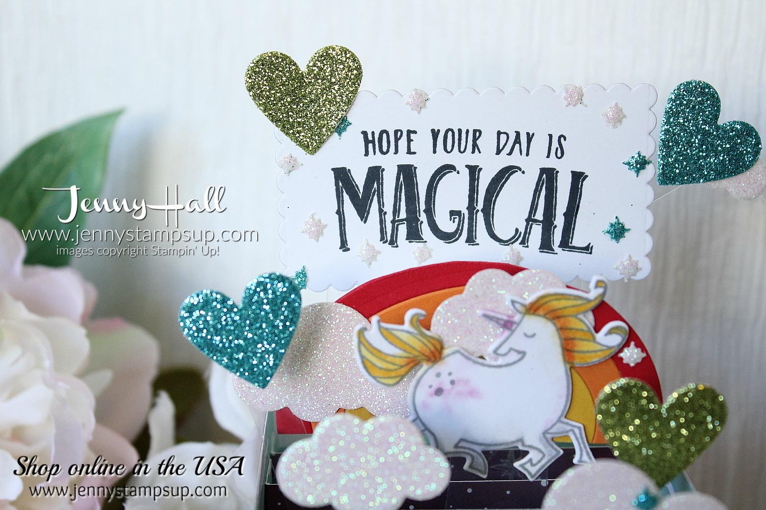 Magical Day Box Card by Jenny Hall at www.jennyhalldesign.com for #cardmaking #addinktivedesignteam #unicorn #cardinabox #boxcard #getwellcard #stampinup #jennyhalldesign #jennyhallstampinup #mythsandmagicdsp #addinktivedesigns #papercraft #artsandcrafts #craftsforkids #kidfriendlycrafts #makeacardsendacard #fancyfold #fancyfoldcard