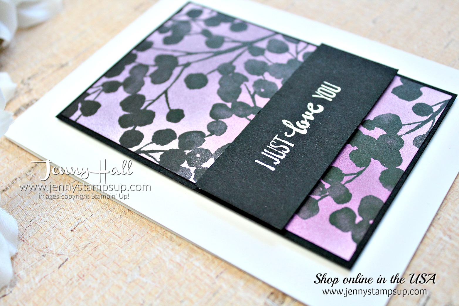 Purple Passion card with Petal Palette Bundle by Jenny Hall at www.jennyhalldesign.com for #stampinup #cardmaking #petalpalette #brayer #coloring #jennystampsup #jennyhalldesign #ombre #cardmakingtechniques #2018occasionscatalog #stamping
