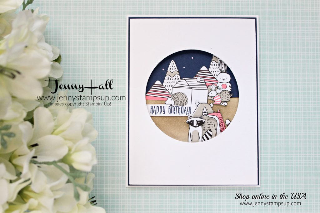 Goodnight Critters Birthday card by Jenny Hall at www.jennyhalldesign.com for #stampinup #cardmaking #scrapbooking #videotutorial #cardmakingvideo #pictureperfectbirthday #pickapatterndsp #jennystampsup #jennyhalldesign #jennyhallstampinup #cascards #cleanandsimplecards and more!