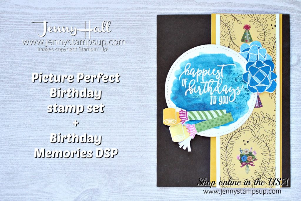 Picture Perfect Birthday masculine card with Video by Jenny Hall at www.jennyhalldesign.com for #stampinup #cardmaking #videotutorial #cardmakingtechnique #watercolorwash #masculinecard #birthdaymemoriesdsp #pictureperfectbirthday #birthdaycard #jennystampsup #jennyhalldesign #jennyhallstampinup #fabfridaychallenge #stamping #artsandcrafts #crafts #birthday