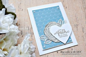 Ribbon of Courage support card by Jenny Hall at www.jennyhalldesign.com for #cardmaking #videotutorial #cardmaingvideos #stampinup #stamping #cardmakingtechniques #silverembossingpaste #ribbonofcourage #supportribbondies #blueandgray #handstitchedcard #jennyhalldesign #jennystampsup #jennyhallstampinup #wwys #whatwillyoustampchallenge #scrapbooking