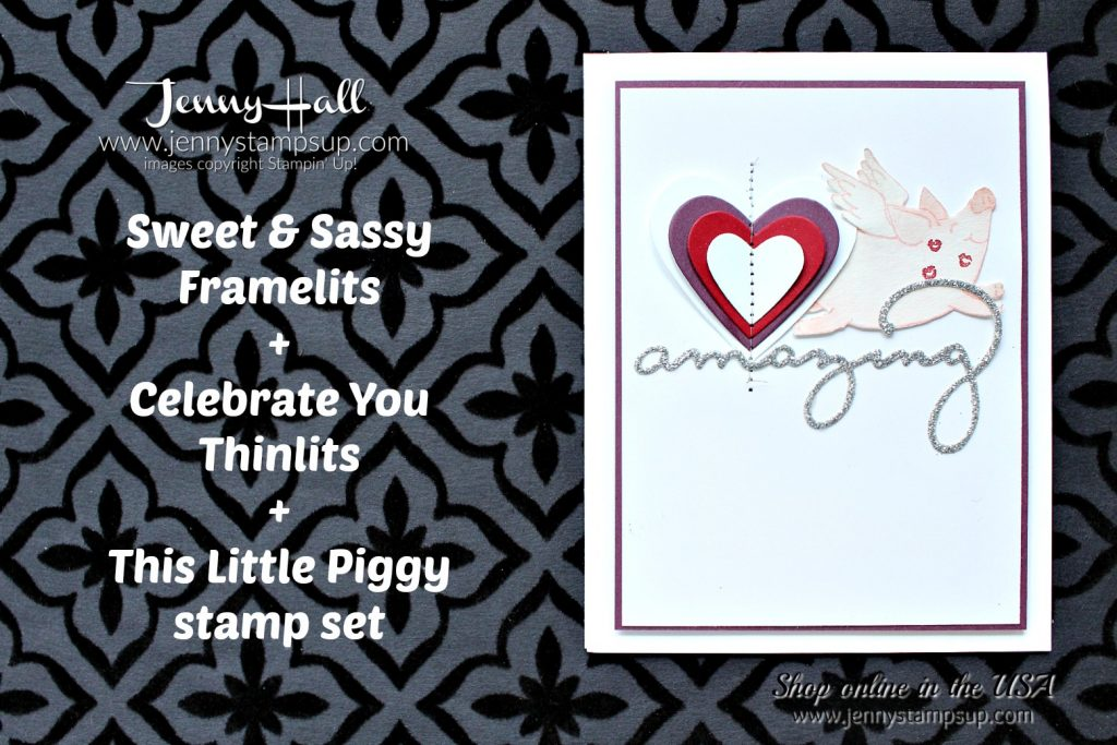 Piggy Valentine's Day card by Jenny Hall at www.jennyhalldesign.com for #stampinup #cardmaking #valentinesday #cascards #cleanandsimplecards #thislittlepiggy #sweetandsassyhearts #jennyhalldesign #jennystampsup #jennyhallstampinup #celebrateyouthinlits #watercolor #sewingmachinecard #cardmaker #stampinkpaperchallenge #papercraftcrewchallenge