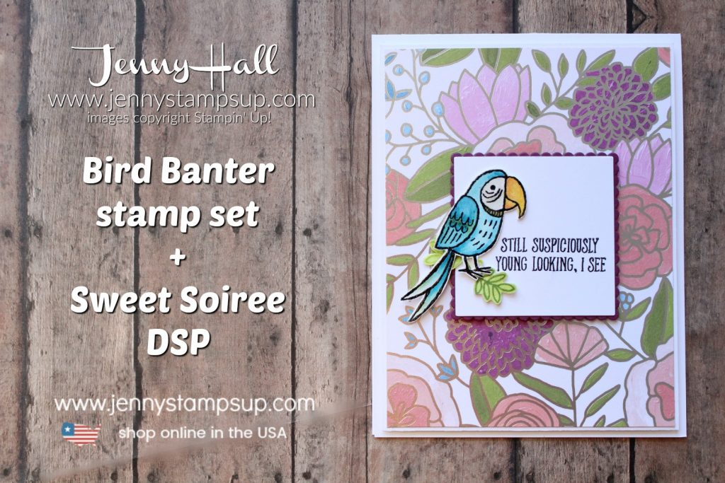 For the Love of Creating Blog Hop Bird Banter card by Jenny Hall at www.jennyhalldesign.com for #cardmaking #stamping #stampinup #birdbanter #sweetsoireedsp #watercolor #watercolorcard #diy #cardmakingtechnique #blueparrot #onstage #jennyhalldesign #jennystampsup #jennyhallstampinup #halljenny #stamping #cascards #design #bloghop #youtuber