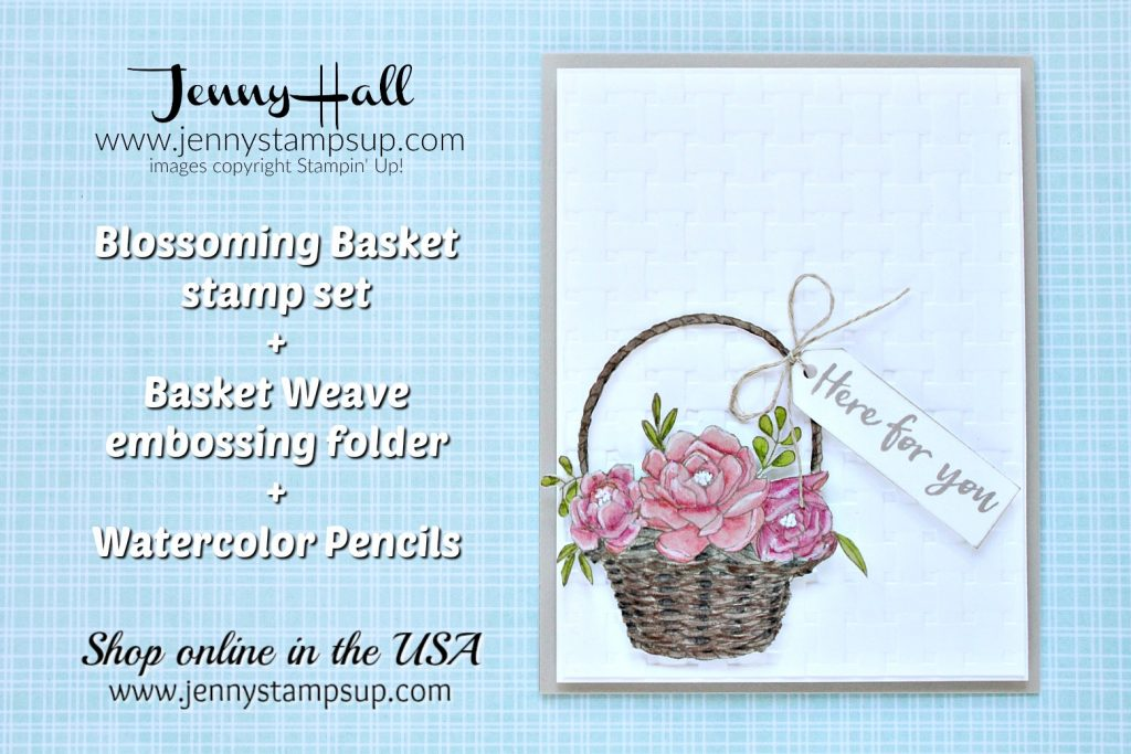Blossoming Basket card created by Jenny Hall at www.jennyhalldesign.com for #cardmaking #videotutorial #processvideo #blossomingbasket #basketweaveembossing #cascards #cleanandsimplecards #cardmakingchallenge #jennyhalldesign #jennystampsup #jennyhallstampinup #coloringvideo #youtuber #artsandcrafts #papercraft #watercolor #lifestyle