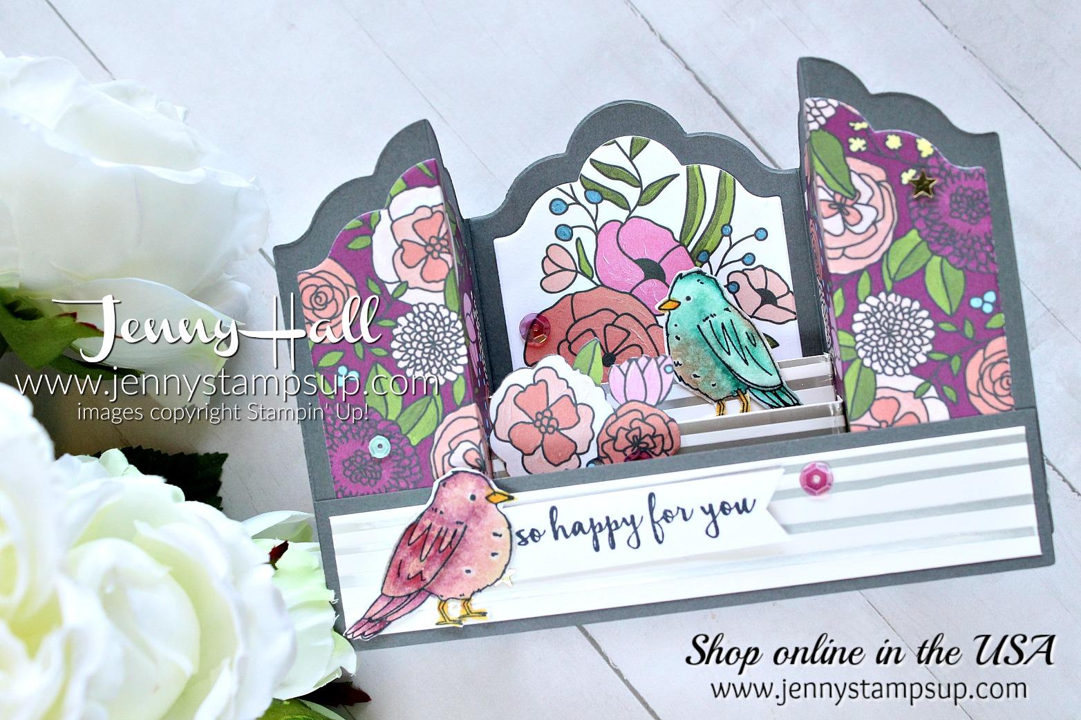 Bridge fold box card created by Jenny Hall for AddINKtive Designs at www.jennyhalldesign.com for #addinktivedesignteam #addinktivedesigns #cardmaking #stampinup #fancyfold #stamping #springtimefoilsdsp #colormehappykit #colormehappy #bridgefold #stampinblends #sweetsoiree #jennyhalldesign #jennystampsup #jennyhall #jennyhallstampinup #youtuber #scrapbooking #crafts #paperembossing #kidfriendlycraft #handmadecard #greetingcard