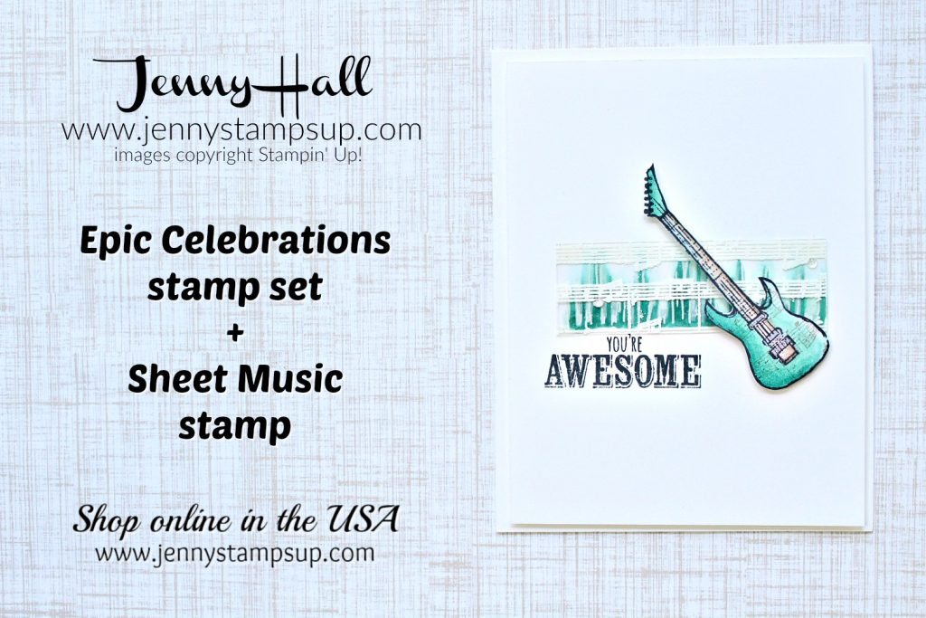 Epic Celebrations card created by Jenny Hall at www.jennyhalldesign.com for #cardmaking #stamping #stampinup #cascards #cleanandsimplecards #alcoholmarkers #awesome80's #1980's #hardrock #heavymetal #stampinblends #embossonacetate #jennyhalldesign #papercraft #youtuber #cardmakingtutorial #crafts #diy