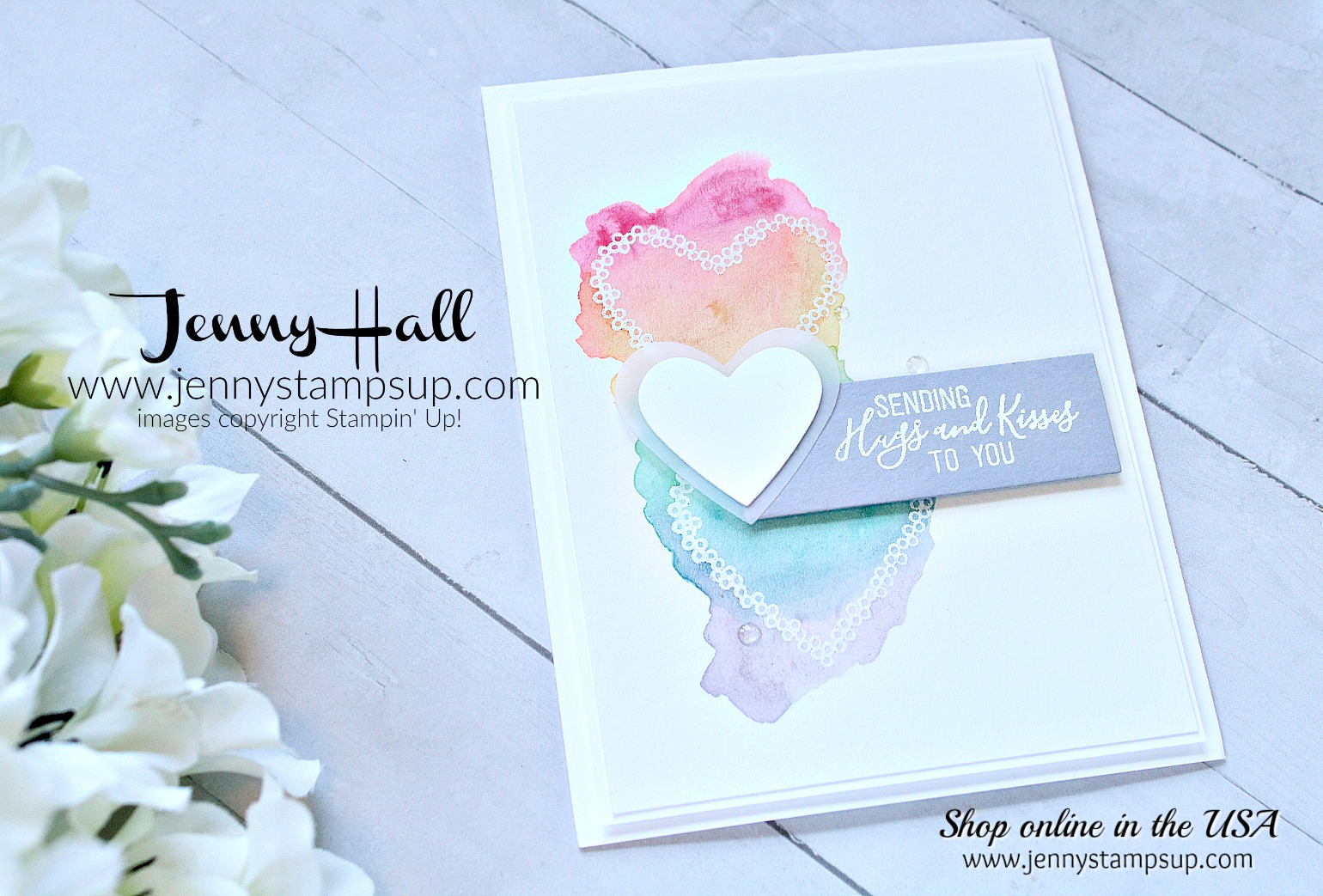 Hearts and rainbows card by Jenny Hall at www.jennyhalldesign.com for #cardmaking #hearts #rainbows #watercolor #watercolorcard #watercolorrainbow #watercolorhearts #diy #cardmaking #stampinup #stamping #cascards #cleanandsimplecards #paperpumpkin #hearthappiness #paperpumpkinalternate #jennyhalldesign #jennystampsup #jennyhallstampinup #halljenny #jennyhallcards