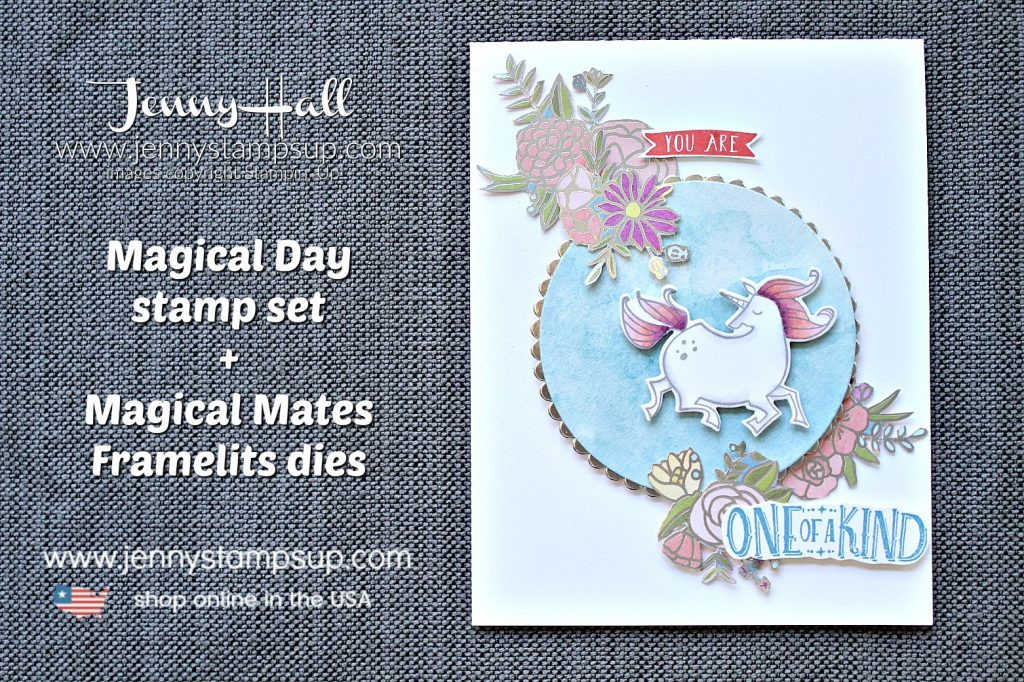 Magical Day unicorn card created by Jenny Hall at www.jennyhalldesign.com for #cardmaking #stamping #stampinup #watercolor #unicorn #jennyhalldesign #jennystampsup #wwys
