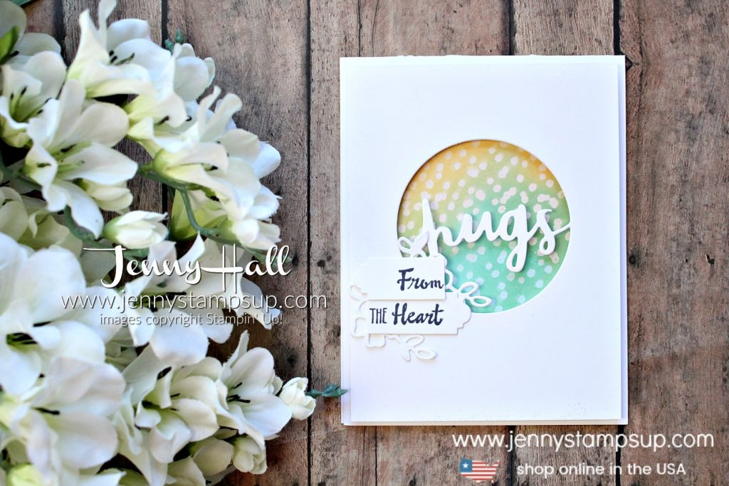 Sending Hugs card with video tutorial by Jenny Hall at www.jennyhalldesign.com for #cardmaking #videos #videotutorial #processvideo #stamping #stampinup #cascards #cleanandsimplecards #inkblending #petalpalette #jennyhalldesign #jennystampsup #jennyhallstampinup #cardmaking #friendship