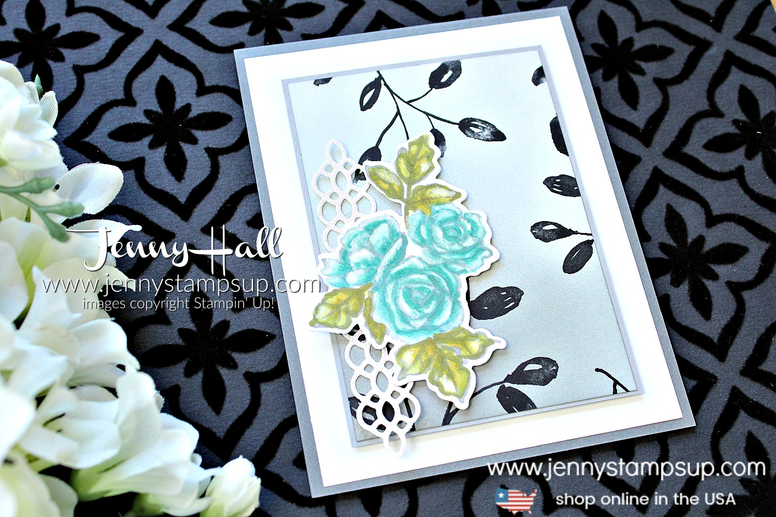 Stamping Sunday Blog Hop Guest Designer card by Jenny Hall at www.jennyhalldesign.com with #petalpassion #inkblending #brayer #twilight #morninglight #moonlight #petalpassiondsp #stamping #stampinup #cards #stampinblends #ombre #cardmakingtechnique #videotutorial #cardmakingvideo #youtuber #sympathycard #cascards #papercraft #watercolor #paperembossing #guestdesigner #ssbh #stampingsunday #stampingsundaybloghop