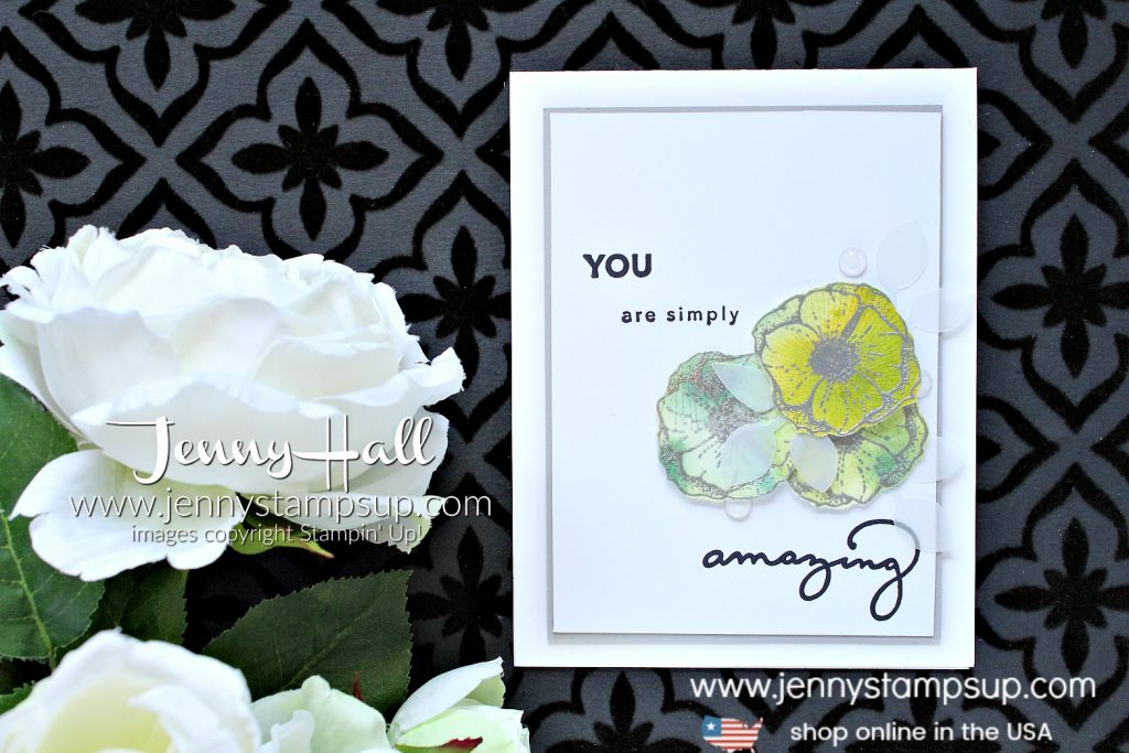Fun Watercolor Flowers card created by Jenny Hall at www.jennyhalldesign.com for #cardmaking #stamping #watercolor #paperembossing #leafpunch #cascards #cleanandsimple #stampinup #saleabration #jennyhall #jennyhalldesign #jennyhallstampinup #jennystampsup #stampinkpaperchallenge #videotutorial #youtuber #papercrafting #lifestyle #crafts