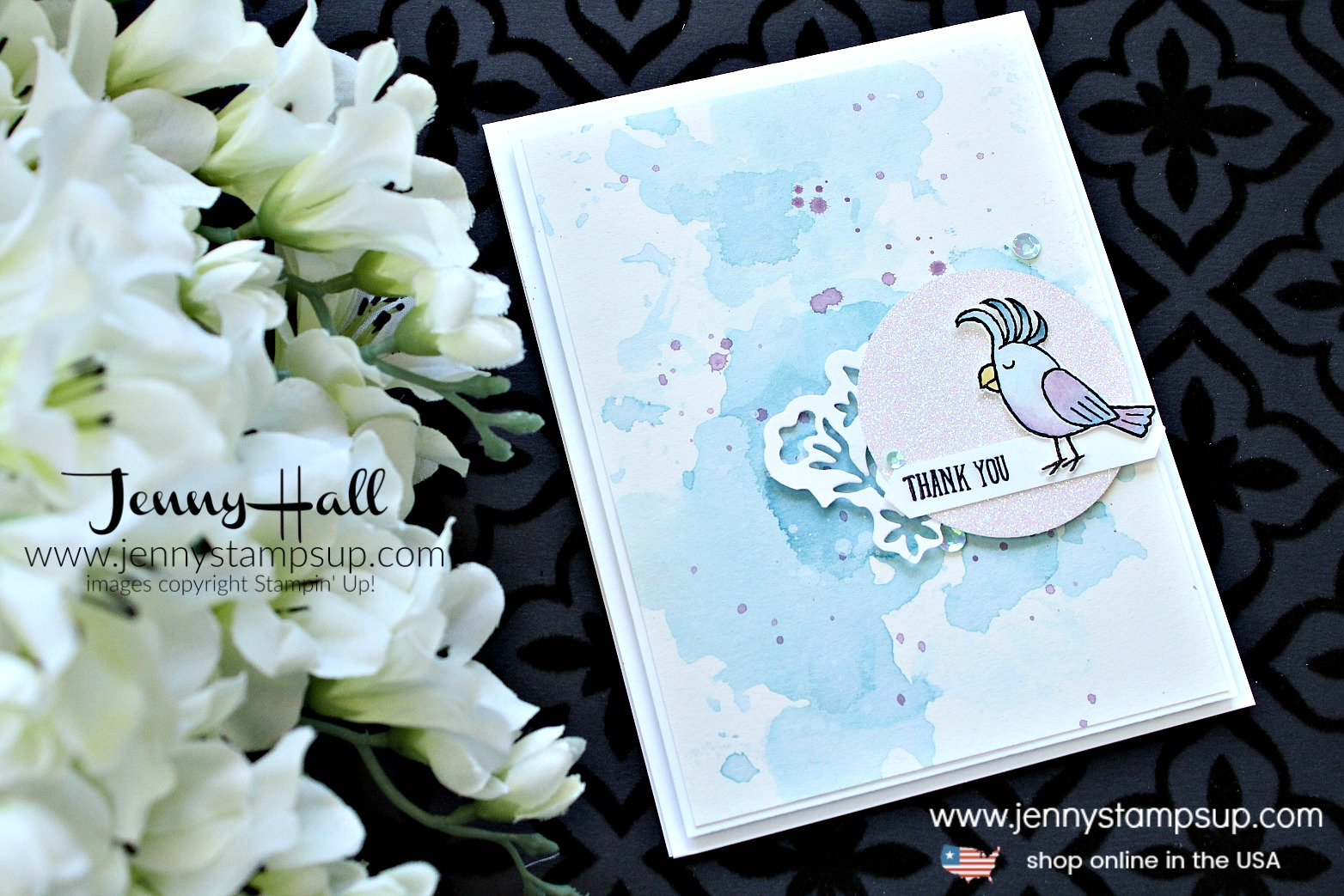Bird Banter Moonlight card created by Jenny Hall at www.jennyhalldesign.com for #cardmaking #stamping #stampinup #birdbanter #birdstamp #watercolorsmooshing #detailedfloralthinlits #moonlight #watercolorpainting #crafts #lifestye #diy #jennyhall #jennystampsup #jennyhalldesign #jennyhallstampinup