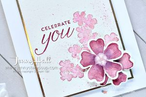 Birthday Blossoms spring card created by Jenny Hall at www.jennyhalldesign.com for #birthdayblossoms #pink #springflowers #watercolor #cherryblossoms #pinkdogwood #paintsplatters #pansypunch #monochrome #craftyyoutube #youtuber #jennyhall #jennyhalldesign #jennyhallstampinup #jennystampsup #stamping #stampinup #cascards #cleanandsimplecards #pinkflowers